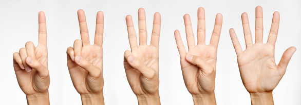 hand gesture, three fingers